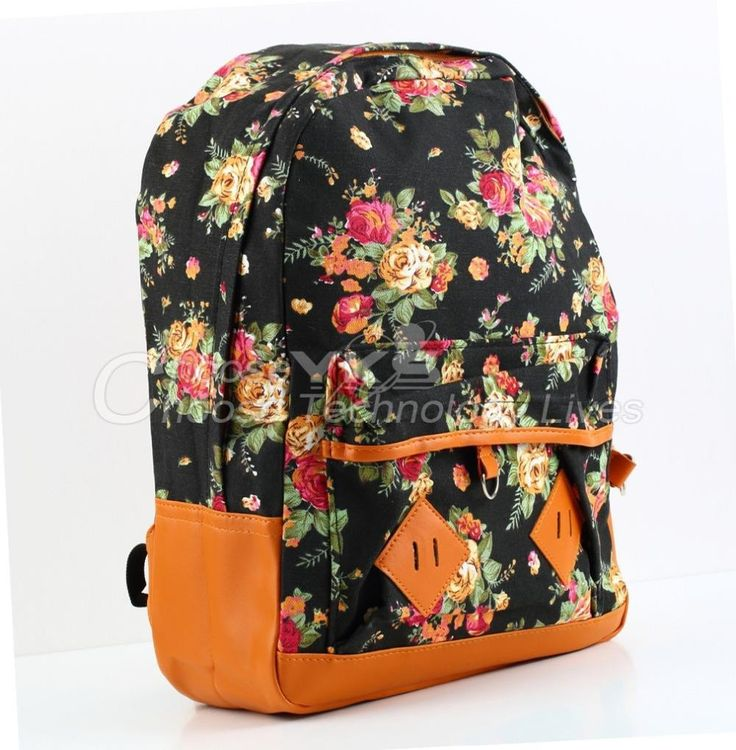 Vintage-Style Floral Print Cotton Faux Leather Large-Capacity Backpack