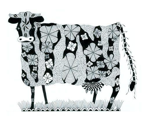 Cow Zentangle 8x10 Print Https://www.etsy.com/your