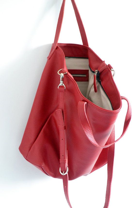 LONDON  Ready To Ship RED Leather TOTE Bag Oversize Top by KadoBag