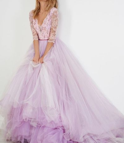 Sexy Prom Dress,Lavender Prom Dresses,Half Sleeve Tulle Evening