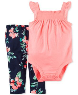 Carter's Baby Girls' 2-Piece Coral Bodysuit & Floral-Print Leggings Set - Sets - Kids & Baby - Macy's