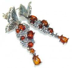 Beautiful Design!! Polish Amber Sterling Silver earrings
