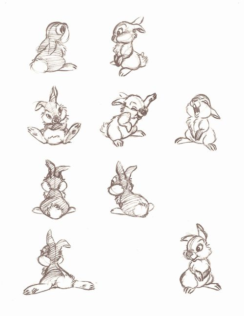 "Thumper Concept Sketches From ""Walt Disney's Bambi: The Sketchbooks Series"""