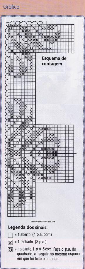Tecido e crochê filé formam esta linda toalha com tiras trabalhadas em linha fina e agulha 1,25mm.  Gráficos