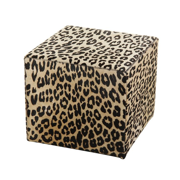 Discover+the+Amara+Panther+Printed+Cow+Skin+Cube+Pouf+at+Amara