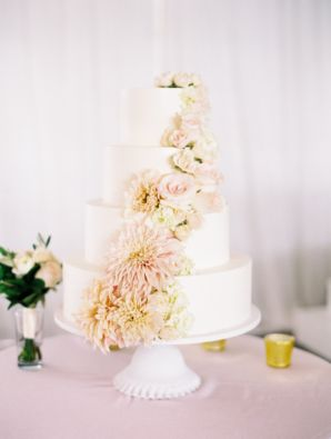Wedding Cake with Cascading Peach Flowers | photography by http://www.virgilbunao.com