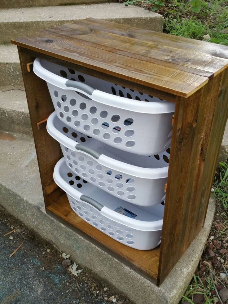 Rustic Barnwood Gorgeous Handcrafted Wooden 3 Laundry Basket Holder Storage Cabinet Laundry Room Decor