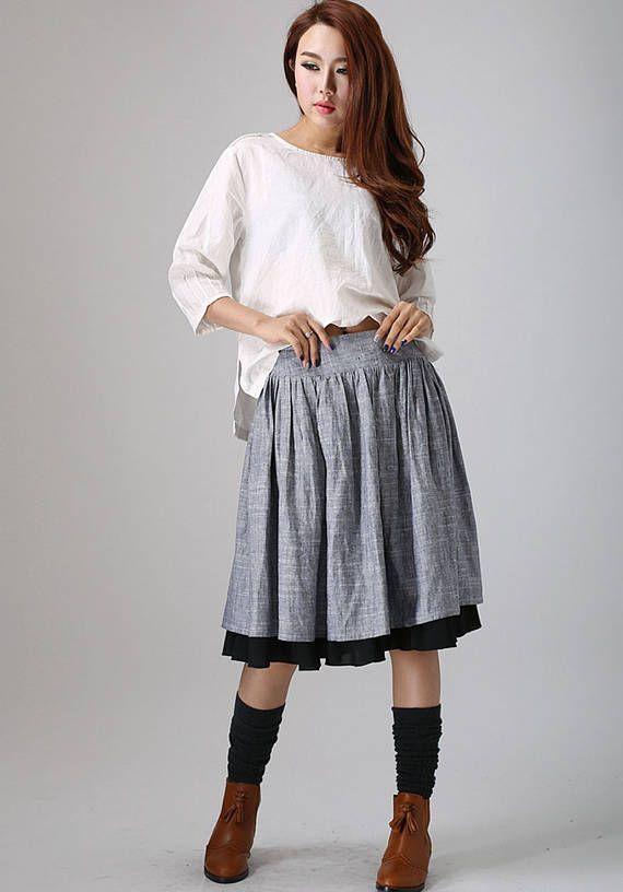 grey skirt pleated skirt skater skirt handmade skirt linen