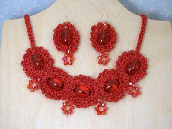 Red jewelry set Dangle earrings Crochet by HomemadeCraftIdeas