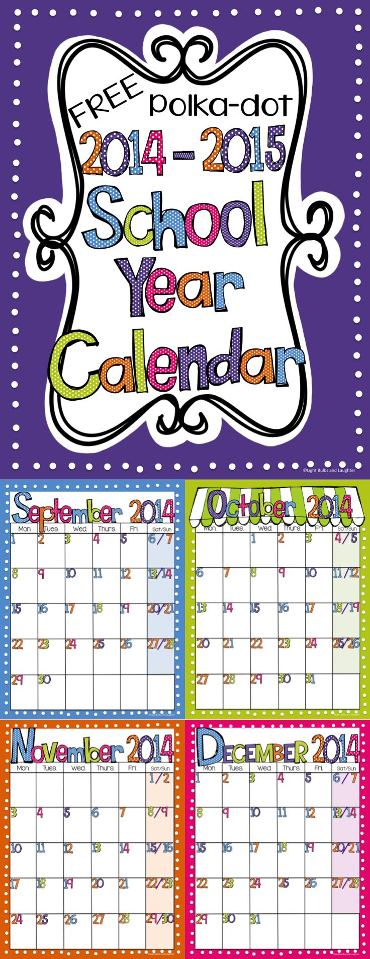 Free Editable (PowerPoint) Calendar 2014 -15 School Year - Bright Polka dots.