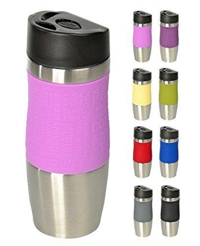 WELLGRO® Thermobecher 400 ml - Edelstahl - BPA-frei - Isolierbecher - Farbe wählbar, Farbe:Rosa