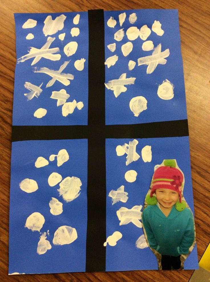 Portada álbum escolar ventana nevada con foto del alumno