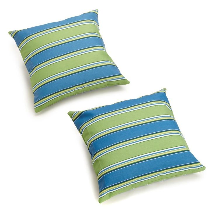 Blazing Needles 18 x 18 in. Patterned Outdoor Throw Pillows - Set of 2 Haliwell Carribbean - 9910-S-2-REO-29