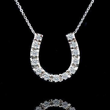 Lucky Diamond Horseshoe Pendant Necklace 14K White Gold by OroSpot, $299.00