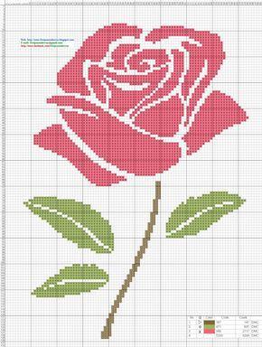 Rosa Pink - Punto de cruz 18 x 24 centimetros 99 x 132 puntos 3 colores DMC