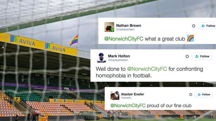 Football club shuts down homophobia with 1 resounding wordThe Norwich City Football Club is taking a strong stand on homophobia in sport.  By Lindsay Davis2016-08-01 14:10:06 UTC  LONDON  The one-word shutdown is our favourite type of shutdown and Norwich City Football Club just absolutely smashed one.   The football club announced on its Facebook page that it would be flying a rainbow flag above its Carrow Road stadium in support of Norwich Pride this past weekend.  However not all fans…