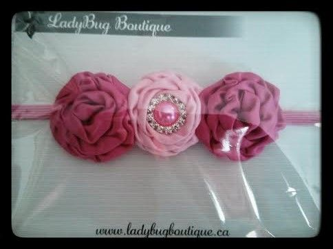 Satin Rosette Bling Headbands; many colour combinations.