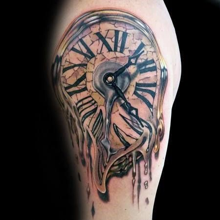 40 melting clock tattoo designs for men salvador dali ink ideas tattoos pinterest clock. Black Bedroom Furniture Sets. Home Design Ideas