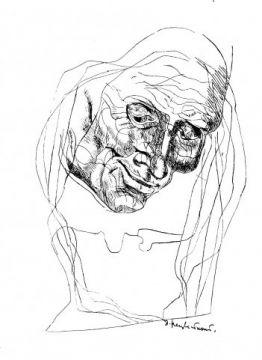 """""""Смеющаяся старуха"""".  На иллюстрации Э. Неизвестного к произведению Достоевского """"Смеющаяся старуха"""" изображена убитая старуха-процентщица. Это эпизод сна Раскольникова, когда он видит старуху, которава после убийства смеётся над ним, пока он пытается её убить. Мы видим страшное лицо её, которое склонилось над героем. Несмотря на то что она мертва, её лицо изображено более чётко. Раскольников же начертан символично, он как бы сам умер."""