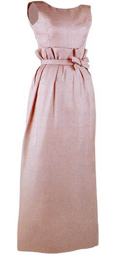Oleg Cassini light pink silk gazar dress - circa 1963. I love it. It's so sweet, plus that waist detail! Unfortunately I would most likely look 6 months pregnant in this.