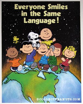 Peanuts Posters | CollectPeanuts.com - Peanuts Gang on Globe -Next quarter is MISSIONS Focused- this would be neat to have or make-