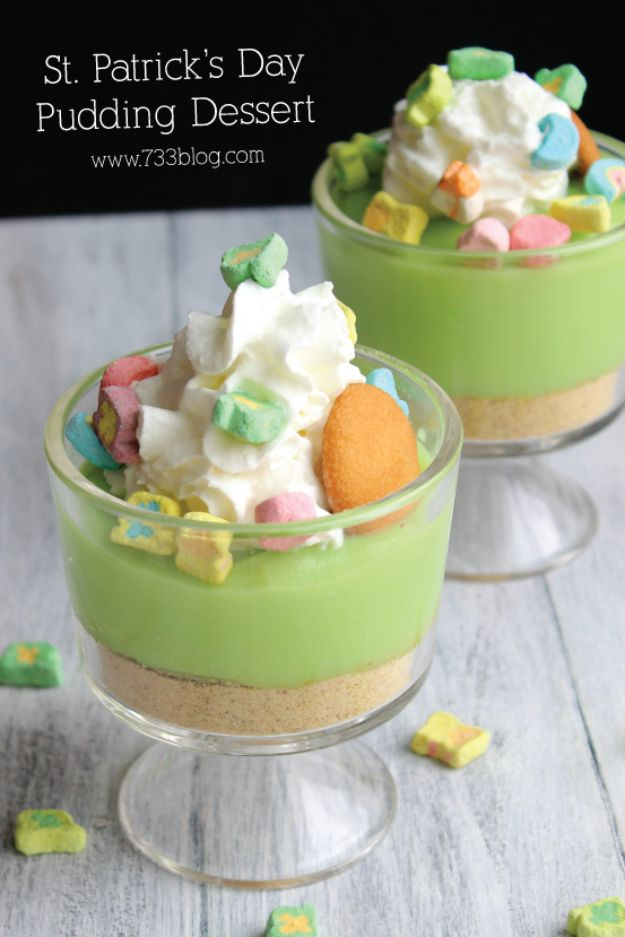 DIY St Patricks Day Ideas - St. Patrick's Day Pudding Dessert - Food and Best Recipes, Decorations and Home Decor, Party Ideas - Cupcakes, Drinks, Festive St Patrick Day Parties With these Easy, Quick and Cool Crafts and DIY Projects http://diyjoy.com/st-patricks-day-ideas