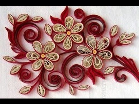 New : Art & Craft How to make Beautiful Quilling Red/IW White Flower des...