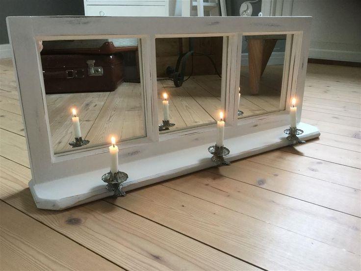 Spegel 3 glas Omgjort gammalt fönster Shabby Shic Fransk lantstil