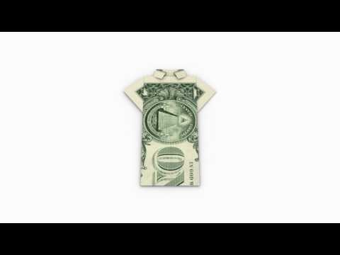 Origami Money / Geld (1 Dollar) Shirt - Folding Instruction / Faltanleitung in 3D