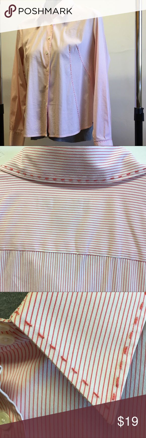 Faconnable button down shirt, ladies blouse Sz XL Bright red stripes and great stitching details at collar, cuffs and body. This blouse is perfect with a skirt and jacket for the office or with jeans. Wrinkle resistant cotton blend is great for summer. Preowned and in excellent condition. No tears, stains or fading.  Size XL Faconnable Tops Button Down Shirts