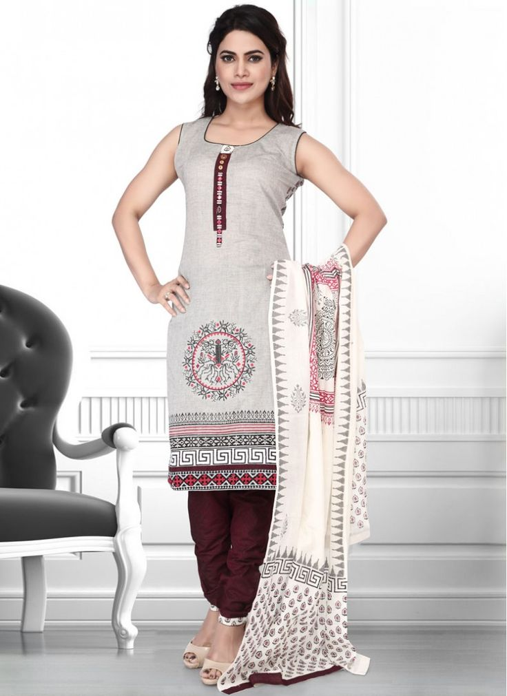 Radiant Cotton  Block Print and Lace Work Brown and Grey Indian Salwar Kameez