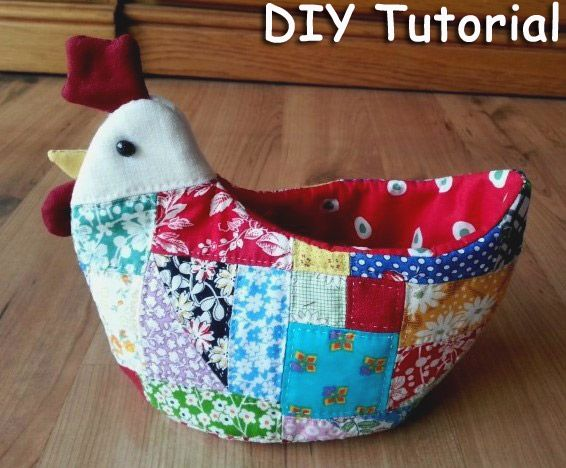 Make a flexible Patchwork fabric bowl for fruits and bread Tutorial. Курица-ваза в технике пэчворк