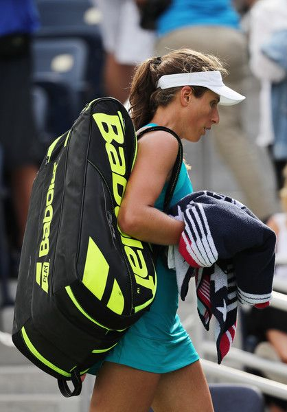 Johanna Konta of Great Britain after her first round Women's Singles match against Aleksandra Krunic of Serbia & Montenegro on Day One of the 2017 US Open at the USTA Billie Jean King National Tennis Center on August 28, 2017 in the Flushing neighborhood of the Queens borough of New York City.