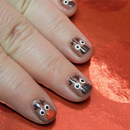 Nail Art Fun: Reindeer Nails like my nails they are cool  for Christmas 2013