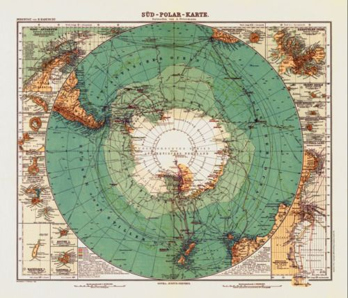 Map of Earth as seen from Antarctica