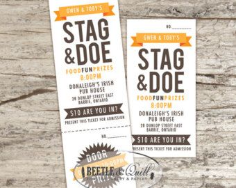 Stag and doe tickets vintage mustache and by for Stag and doe ticket templates