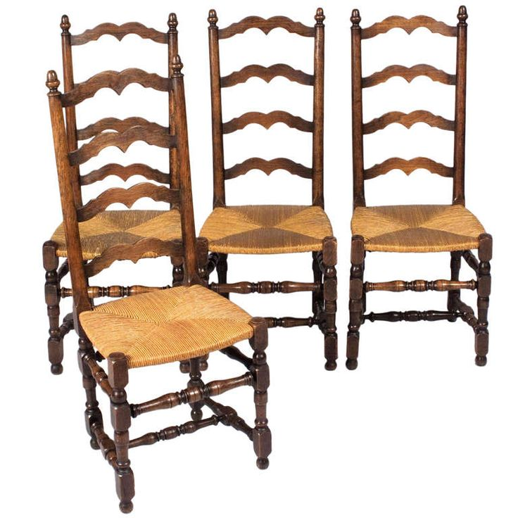 Country Style Dining Room Furniture: Set Of Four French Country Style Rush Chairs