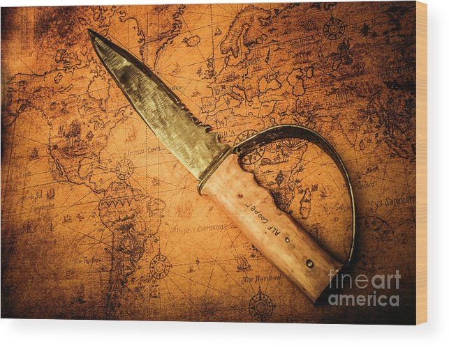 Adventure Wood Print featuring the photograph Pirate Sword On Buried Treasure Map by Jorgo Photography - Wall Art Gallery