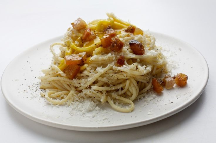 Spaghetti alla Carbonara. Gabrielle Hamilton's restaurant recipe contains no milk or cream. It relies on top-quality cheese, pancetta (salt-cured Italian bacon) and pasta.