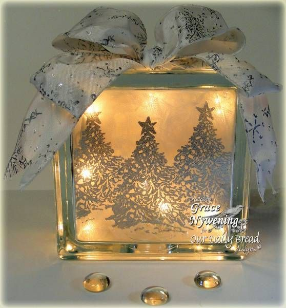 Snowy Christmas Scene Glass Block by scrappigramma2 - Cards and Paper Crafts at Splitcoaststampers