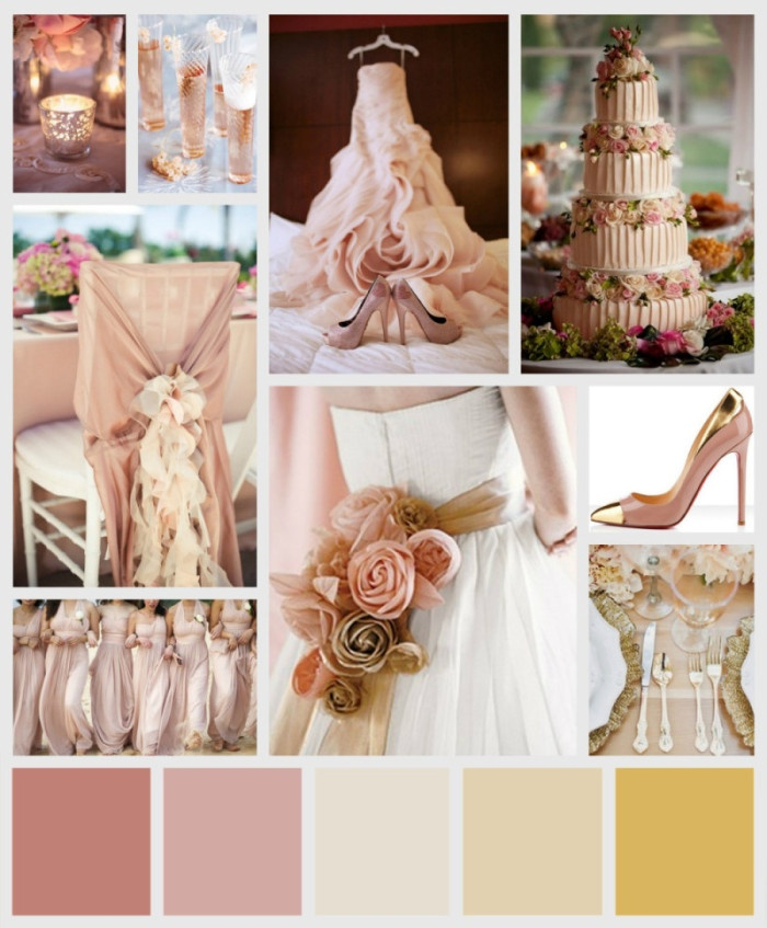 Wedding Colors Dusty Rose Blush Pink Ivory Champagne And Gold