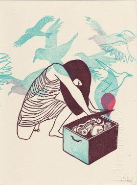 Gravures & Estampes | Evelyne Mary | Coffre aux oiseaux | Tirage d'art en série limitée sur L'oeil ouvert