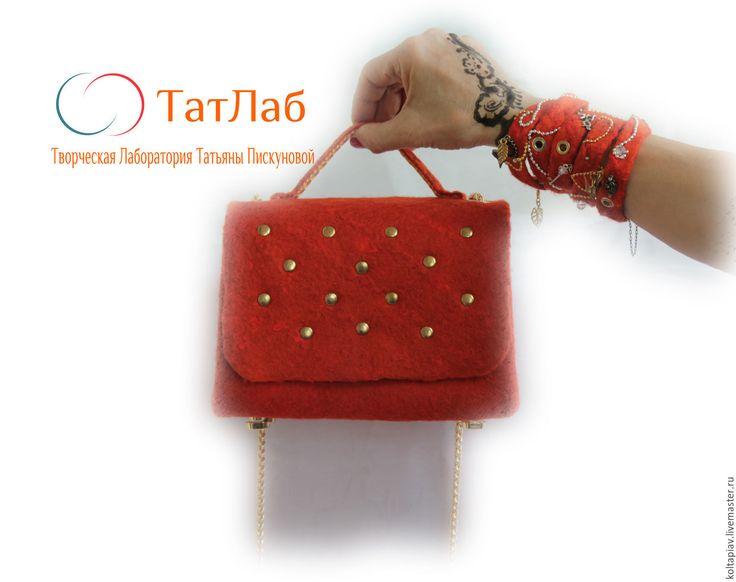 """Купить Маленькая войлочная сумочка """"Немного солнца"""" - однотонный, сумочка на цепочке, сумочка через плечо"""