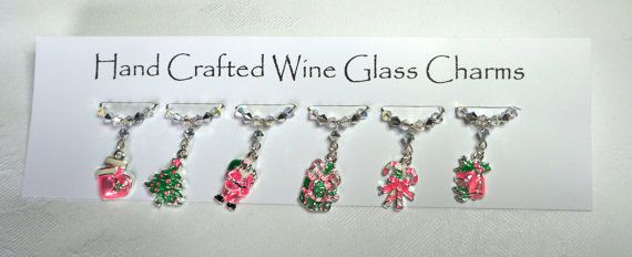 Christmas - Pink Wine Glass Charms, Christmas Party, Dinner Party, Christmas gifts, stocking fillers, teachers gifts