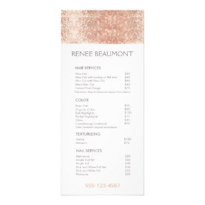 Rose Gold Sequins Salon Price List Menu - rose style gifts diy customize special roses flowers