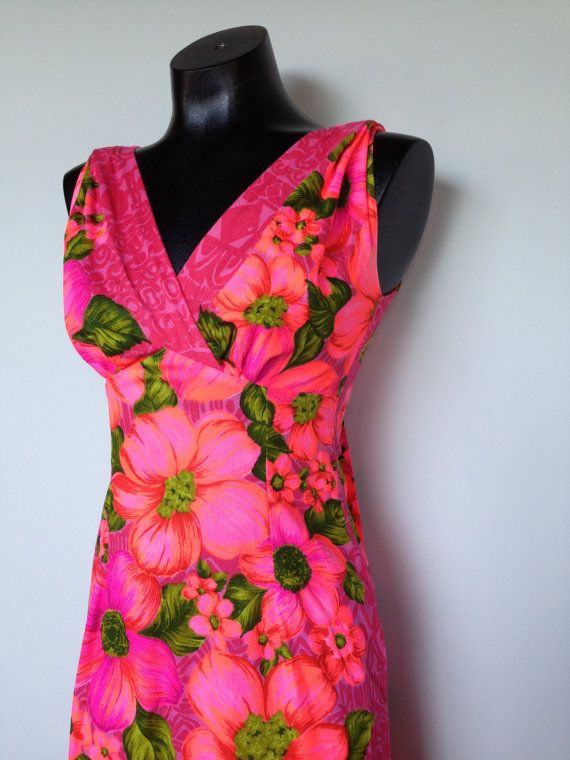 Neon Fluorescent Pink Orange Green Floral by VintageEclectica, $89.00