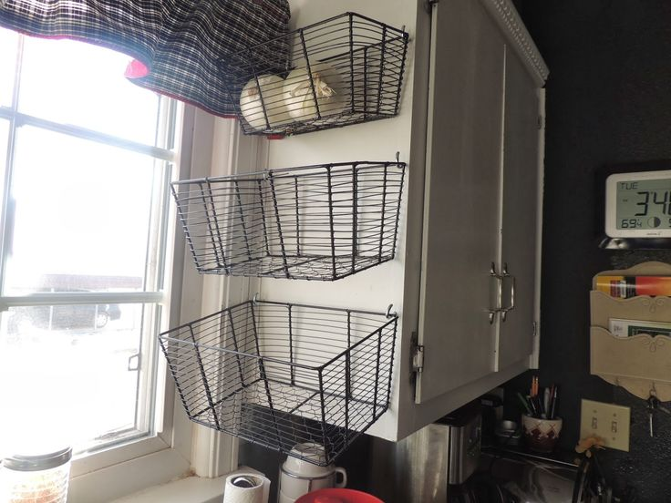 Easy And Inexpensive Storage Solutions Wire Baskets From A Dollar Store Hung By Heavy Duty Cup