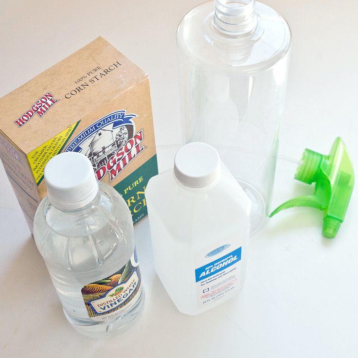 No Streak Window Cleaner:  make your own with 4 Ingredients, White Vinegar, Rubbing Alcohol, Corn Starch & Distilled Water