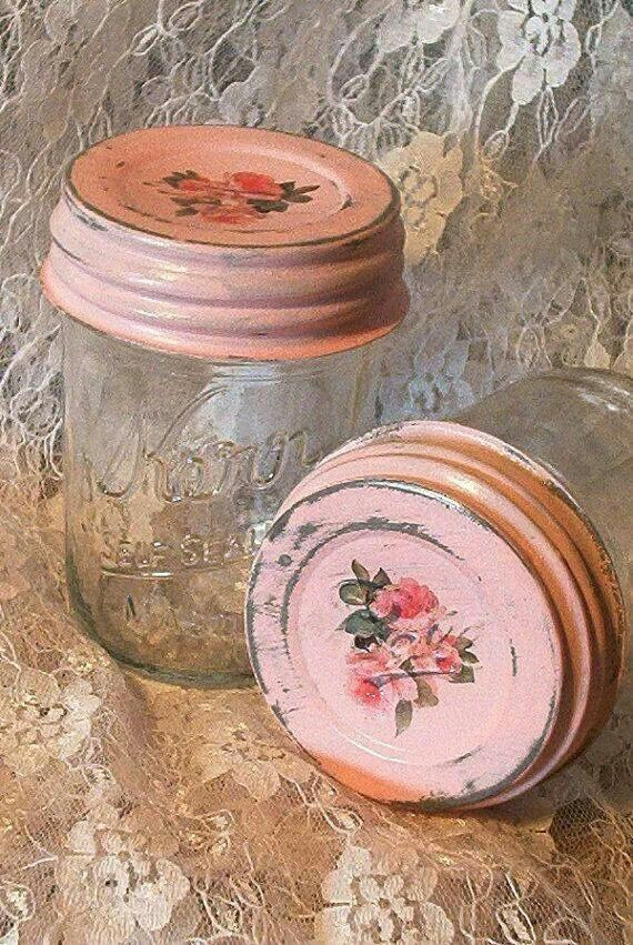 Shabby Vintage Mason Jars with Pink-painted Lids ....