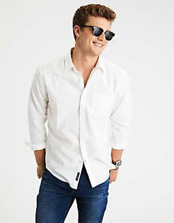 AEO Solid Oxford Button Down Shirt -